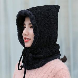 冬季<span class=H>帽子</span><span class=H>女</span>韩版休闲百搭一体式套头帽<span class=H>冬天</span>户外出游<span class=H>加绒</span>保暖毛线帽