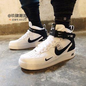 Nike Air Force 1 Mid <span class=H>AF1</span> 黑<span class=H>白</span>小OW简版空军一号板鞋 804609-103
