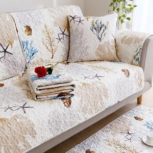 领2元券购买纯棉布艺沙发垫四季通用防滑全棉坐垫简约现代全包萬能套罩全盖巾