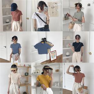 夏季韩版<span class=H>女装</span>纯色百搭修身超显瘦弹力多色螺纹插肩圆领短袖T恤衫