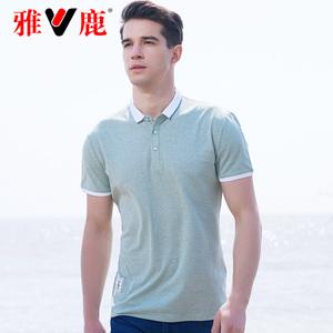 雅鹿2019夏季短袖t恤<span class=H>男装</span> 中青年男士商务休闲翻领修身纯色<span class=H>polo衫</span>