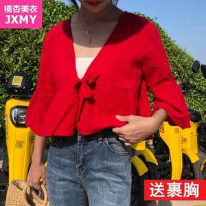 夏季新款复古文艺宽松纯色v领荷叶袖棉麻衬衫女短款显瘦娃娃衫潮