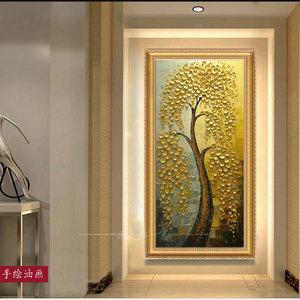 2018新款<span class=H>油画</span>欧式客厅装饰画现代中式玄关手绘挂画过道壁画发财树