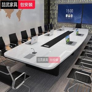 烤漆办公桌会议桌长桌简约现代白色长方形大型接待洽谈桌椅组合