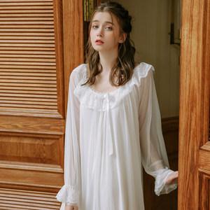 法式复古<span class=H>睡裙</span>女超仙宫廷仙女长款长袖蕾丝秋季粉色睡衣公主风冰丝