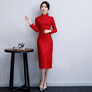 红色旗袍新娘冬季2018新款女秋<span class=H>敬酒服</span>中长款少女修身长袖改良蕾丝