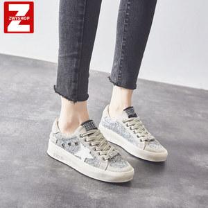 紫文洋欧洲站新款洋气大码<span class=H>女鞋</span>银色星星亮片板鞋真皮运动休闲鞋潮