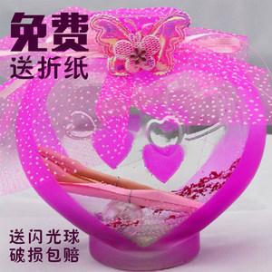 心型星星瓶塑料管星星折纸许愿瓶 夜光瓶荧光五星幸运瓶生日礼物