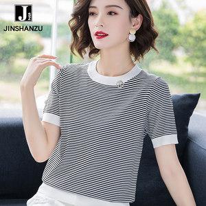冰丝针织衫女短袖2019新款夏季薄款黑白条纹<span class=H>t恤</span>韩版宽松时尚套头S