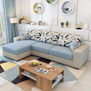 简约现代布艺<span class=H>沙发</span> 小户型客厅家具整装转角组合 可拆洗三人位<span class=H>沙发</span>
