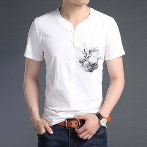 莱克茜青年男士水墨风短袖T恤