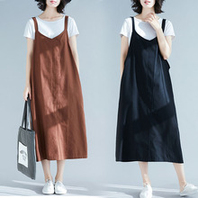 Cotton and hemp Sling Dress Spring and Summer 2019 new loose-size Korean version of leisure medium-length sleeveless strap skirt