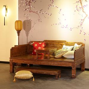 罗汉床仿古实木中式雕花罗汉床古典精致南榆木罗汉榻 住宅<span class=H>家具</span>