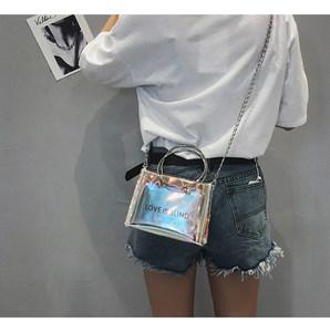 ins超火包果冻透明包包女2018新款韩版百搭上新链条包斜挎小包包