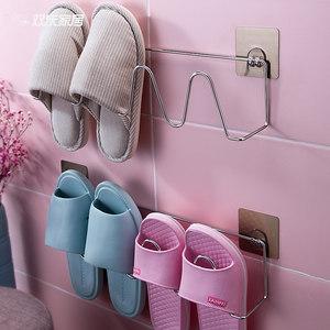 <span class=H>浴室</span>拖鞋架壁挂式小鞋架简易卫生间门后不锈钢家用拖鞋收纳置物架