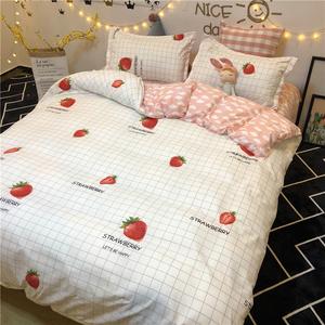 简约ins风小仙女草莓床上<span class=H>用品</span>四件套网红床单被套学生宿舍三件套