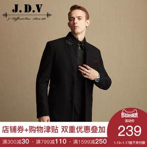 【清仓】JDV<span class=H>男装</span> 男士黑色条纹夹棉毛<span class=H>呢大衣</span>外套 WCO5605BLK