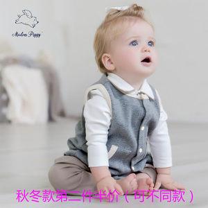 小猪麦都春秋男女宝宝背心马甲外套新生儿婴儿衣服纯棉冬装针织衫
