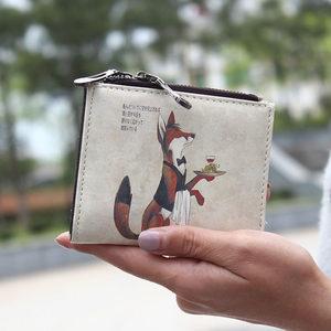 日韩版狐狸卡通超薄双拉链<span class=H>零钱包</span>女学生小钱包可爱迷你钱包女短款
