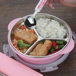 304不锈钢圆形<span class=H>饭盒</span> 分格中小学生便当盒分隔儿童餐盘1层密封韩国
