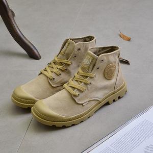 纯黑色高帮帆布鞋男秋季学生韩版潮鞋英伦男士休闲布鞋工装<span class=H>男鞋</span>子