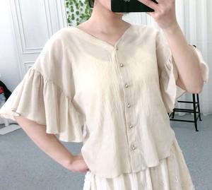包邮V领<span class=H>衬衫</span>女夏季甜美荷叶边短袖宽松上衣新款气质薄棉小衫WZ202