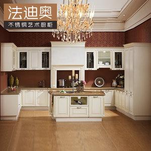 法迪奥开放式不锈钢厨房整体定做<span class=H>橱柜</span>欧式石英石台面厨柜订制新款