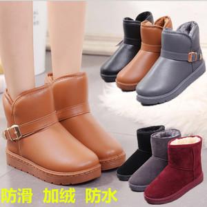 冬季短筒雪地靴<span class=H>女</span>加厚保暖平底棉鞋加绒防滑<span class=H>靴子</span>学生防水皮面短靴