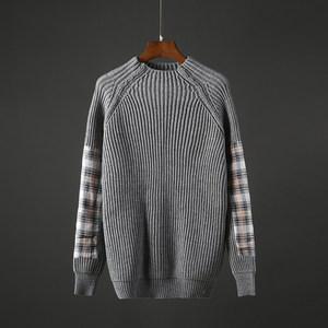 冬季男士半高领纯色毛衣宽松港风针织衫青年保暖男装粗毛线衣A008