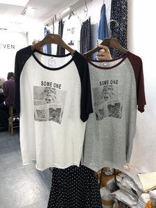 ONE SEVEN 2019夏季新款圆领字母女孩人像港风宽松拼色袖<span class=H>T恤</span>2528