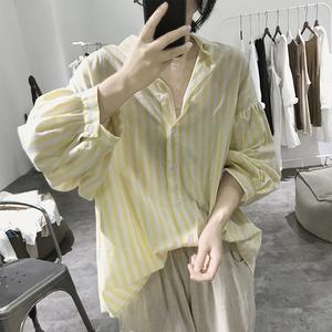 棉质衬衫女士春夏季宽松大码韩版灯笼袖显瘦小翻领九分袖条纹上衣