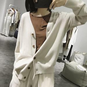 v领针织衫外套女士春秋季新款简约纯色显瘦长袖宽松韩版<span class=H>开衫</span>上衣