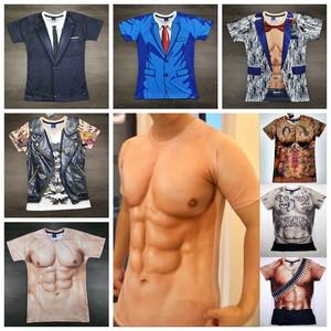 创意搞笑肌肉男<span class=H>t恤</span>3D纹身衣服立体图案个性假68块腹胸肌短袖<span class=H>t恤</span>潮