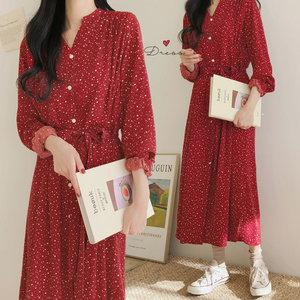 HEYGIRL黑哥 波点收腰显瘦裙女红色中长款雪纺<span class=H>连衣裙</span>2019春季新款