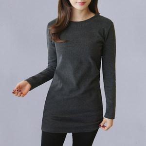 新款女式长袖显瘦韩版百搭T恤女士春秋季装中长款修身包臀<span class=H>打底衫</span>