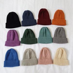冬ins儿童毛线帽子男宝宝纯色百搭毛线帽冬季女童时尚保暖针织帽