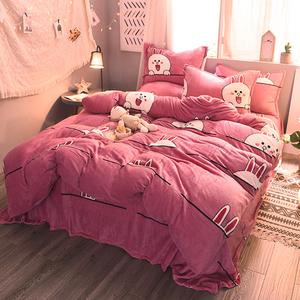 珊瑚绒四件套加厚法兰绒床单冬季法莱绒1.8m<span class=H>床上</span>用品2m米保暖被套