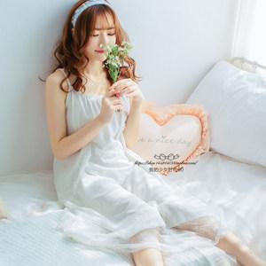 夏季纯白色公主女式甜美<span class=H>睡裙</span>长裙日系吊带可爱性感蕾丝网纱睡衣裙