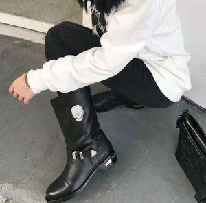 真皮女鞋2019新款<span class=H>短靴</span><span class=H>中筒靴</span>女粗跟靴子平底机车女靴复古春秋<span class=H>单靴</span>