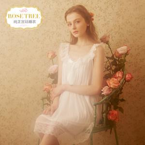 RoseTree公主睡裙女夏季冰丝宫廷<span class=H>睡衣</span>甜美性感蕾丝吊带短袖家居服
