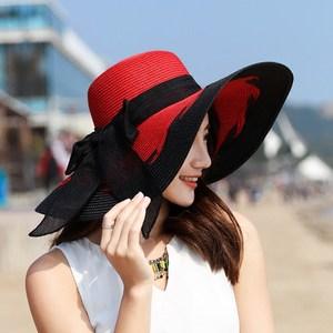 沙滩帽遮阳<span class=H>草帽</span>大沿帽子女夏天可折叠防晒太阳帽出游海边百搭度假