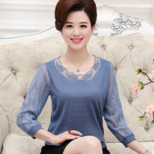 Middle-aged and elderly women's summer dress bottoming shirt 40 years old 50 middle-aged mother spring and autumn wear thin section long-sleeved clothes 30