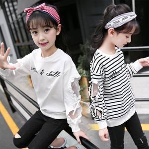 女童春装2019新款洋气童装儿童长袖T恤打底衫中大童蕾丝白色<span class=H>上衣</span>