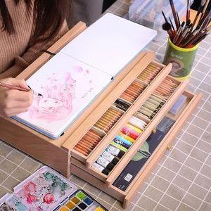 中盛画材 榉木抽屉木质画架画盒桌面油画箱素描<span class=H>彩铅</span>收纳盒子画画