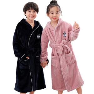 秋冬季儿童<span class=H>睡袍</span>女公主加厚珊瑚绒男童浴袍女童法兰绒带帽宝宝睡衣