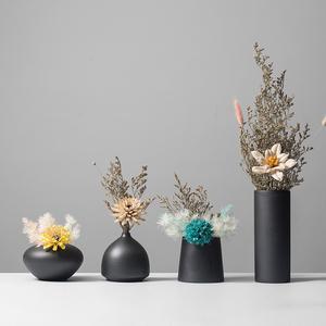 花与器 简约现代黑色陶瓷花瓶水培鲜花插花小花器<span class=H>家居</span>装饰品摆件