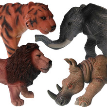 Jiming simulation soft gelatin animal model elephant lion rhino buffalo static 3-6 year old boy toys