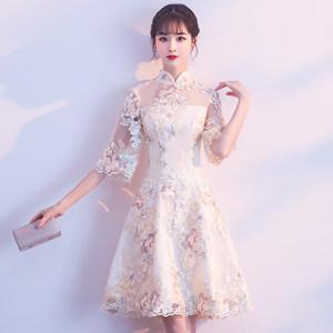 中式改良<span class=H>旗袍</span>2019新款宴会晚礼服伴娘服连衣裙短款年轻款少女日常