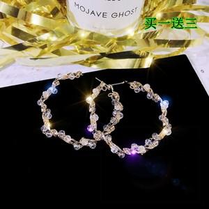 日韩国新款流行时尚水晶耳饰夸张个性珍珠波浪大耳圈气质纯银耳环