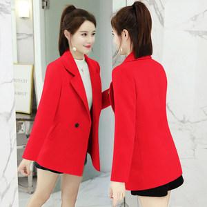 中短款毛呢<span class=H>外套</span>女2019春装新款潮修身小个子反季清仓红色呢子大衣